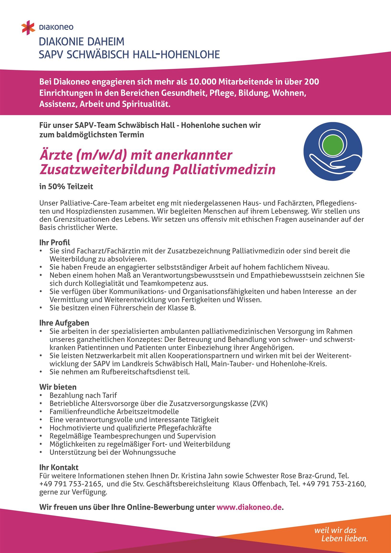 Aerzte m w d für Palliativmedizin Schwäbisch Hall 2 3